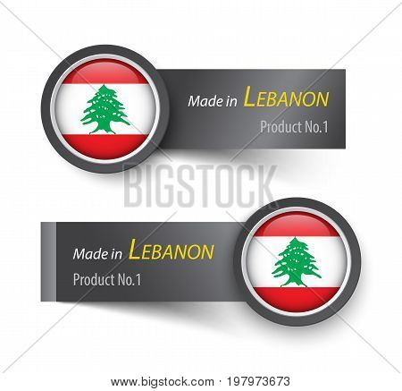 Flag Icon And Label With Text Made In Lebanon