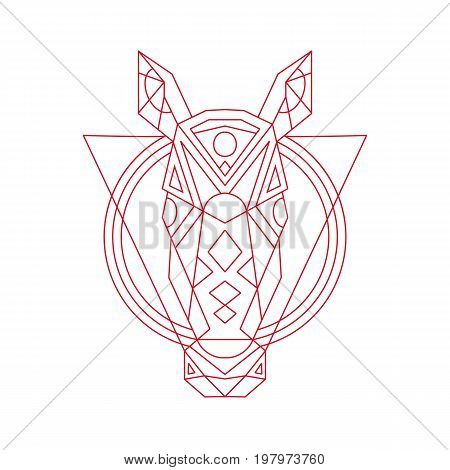 Illustration of a Geometric Horse Head front view done in lineart Line Drawing style.
