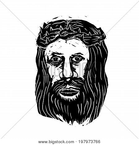 Illustration of Jesus Christ the Savior with Head with Thorns done in black and white Woodcut style.