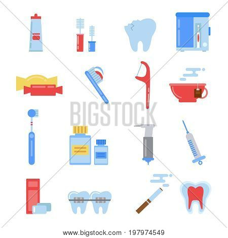 Healthcare illustrations in flat style. Dental different icons set. Tooth, mouth and other specific pictures. Dental healthcare, medicine and health tooth vector