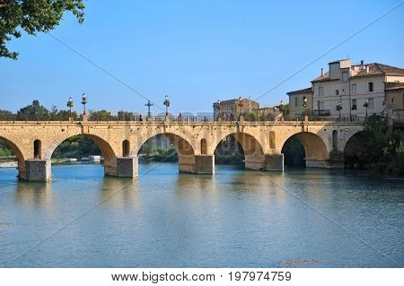 bridge of Sommieres city with the Vidourle river
