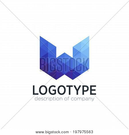 Abstract trend polygon letter W logo design template. Art tech media app creative sign. Colorful symbol icon. Bright alphabet font.
