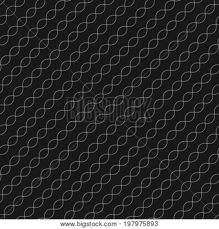 Diagonal wavy lines seamless pattern. Subtle abstract geometric background. Mesh pattern. Repeat minimalist texture. Thin curved waves, chains DNA. Diagonal pattern. Black & white design for decoration, fabric, covers, digital, web.