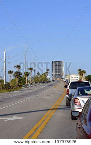 Islamorada Florida Keys Florida USA - May 15 2017 : Snake Creek Bridge an open bascule bridge in Islamorada in Florida Keys