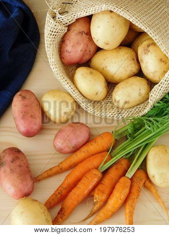 Potatoes in a sack and carrots on a wooden table. Fresh harvest