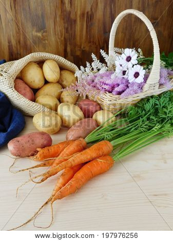 Potatoes in a sack, carrots on a table and flowers in a wicker basket. Freshly picked harvest