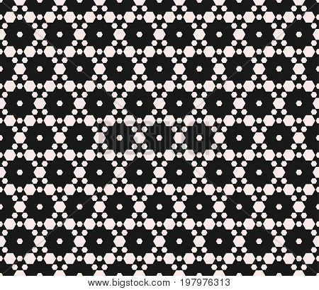 Seamless pattern with small hexagons. Abstract modern texture, delicate hexagonal grid. Stylish monochrome background. Hexagon background, honeycomb pattern. Dark elegant design for decoration. covers. digital. web. cloth.