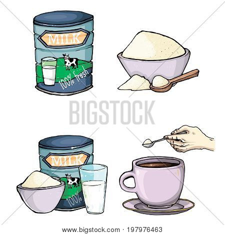 Vector set of cartoon illustration of milk powder in a closed aluminum can and poured into a bowl, a glass of prepared instant milk and the addition of milk powder into a cup of tea, coffee