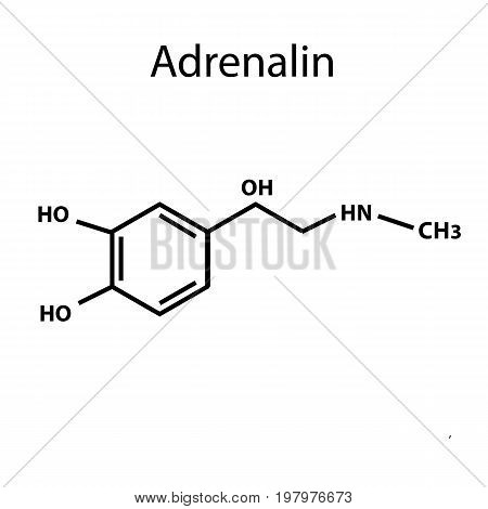 Adrenaline is a hormone. Chemical formula. Vector illustration on isolated background.