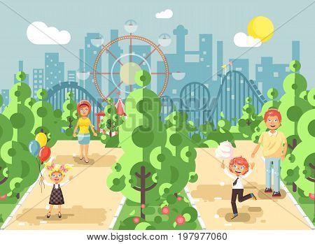 Stock vector illustration walk stroll promenade of parents with children, child s day, balloons, eat ice cream and cotton candy amusement park outdoor, roller coaster switchback background flat style