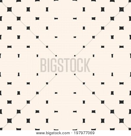 Vector geometric halftone pattern. Seamless texture with different sized rounded squares. Radial gradient transition effect. Minimalist abstract monochrome background. Design for prints, decor, digital.