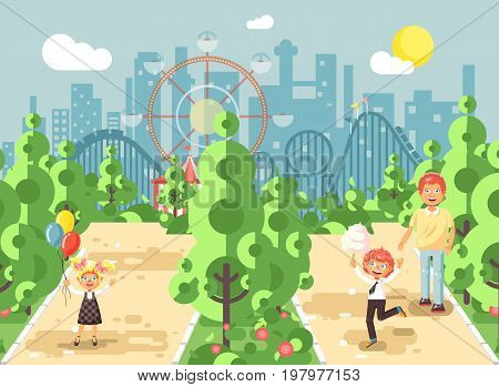 Stock vector illustration walk stroll promenade father with son, daughter children, child s day, balloons, eat cotton candy amusement park outdoor, roller coaster switchback on background flat style