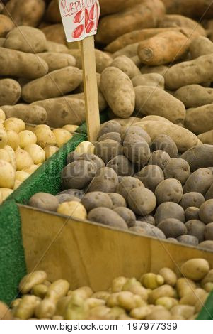 Potato Varieties At The Market Stall, Close Up Image, Color Image, Selective Focus