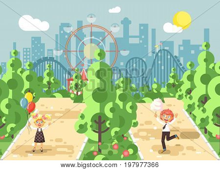 Stock vector illustration walk stroll promenade boy, girl, school children, classmates child s day, balloons, eat cotton candy amusement park outdoor, roller coaster switchback background flat style