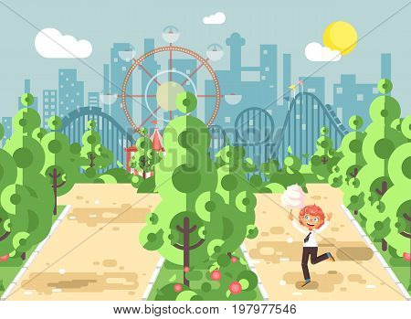 Stock vector illustration walk stroll promenade boy, school child, child s day, holds cotton candy in hands on alley pavement in amusement park outdoor, roller coaster switchback background flat style