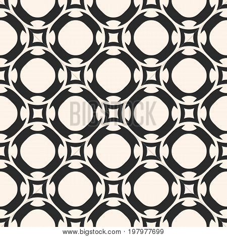 Vector seamless pattern in oriental style. Simple monochrome geometric ornament. Ornamental abstract background, texture with rounded shapes, repeat tiles. Design for decoration, fabric, tiling, cloth. Traditional geometric pattern.