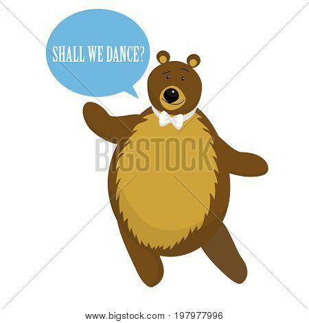 Cartoon Cute Bear Dance for Invitation or Card for Schools and Studios Flat Style Design. Vector illustration