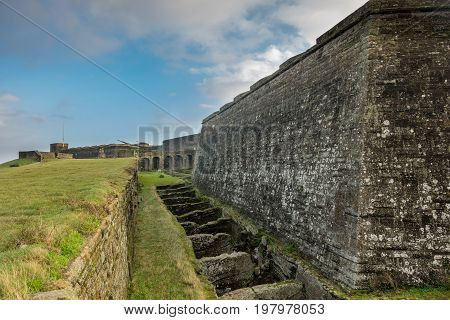 Wide angle view of Terceira fort walls