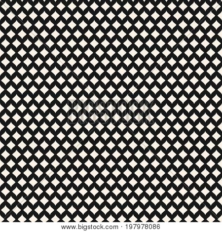 Seamless pattern. Stylish monochrome geometric texture with smooth shapes, curved rhombuses. Mesh pattern. Elegant abstract luxury background. Rhombus pattern. Repeat tiles. Design for textile, linens, clothing. Diamonds pattern. Seometric pattern.