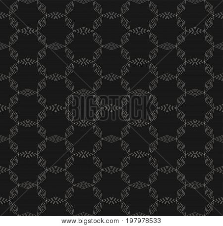 Subtle geometric pattern, vector seamless texture with thin linear lattice. Delicate ornamental abstract background, repeat tiles. Dark minimalist design for prints, decoration, covers, digital, web. Stars pattern. Ornamental pattern.