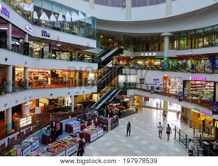 Interior Of Shopping Mall In Singapore