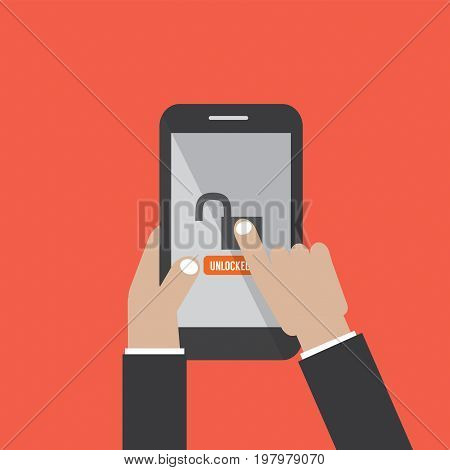 Hands Hold Smartphone With UnLock Screen Vector Illustration. EPS 10