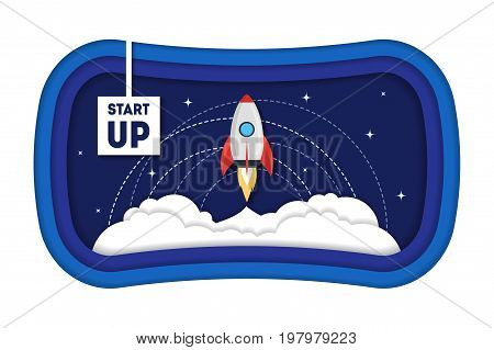Cartoon Symbol Start Up Concept Space Ship Rocket for Promotion, Strategy and Organization Paper Art Style Design. Vector illustration