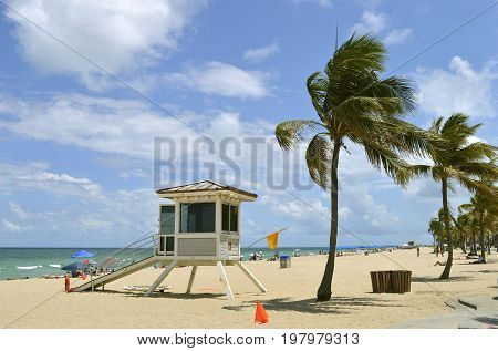 Fort Lauderdale Beach Florida USA - May 16 2017 : Lifeguard station on Fort Lauderdale Beach