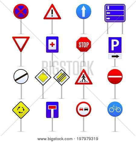 Road Signs Color Icons Set Instruction and Direction Concept Web Style Design. Vector illustration