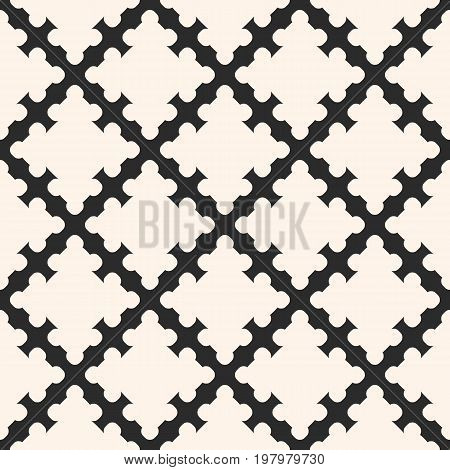 Simple monochrome vector, geometric ornament abstract seamless pattern with smooth carved diagonal grid. Elegant background texture, repeat tiles. Design for prints, textile, decor, fabric, furniture. Diagonal pattern. Geometric pattern.