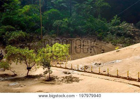 Sunlight From Top Hole Of Cave In Royal Pavilion In The Phraya Nakhon Cave, Prachuap Khiri Khan, Tha