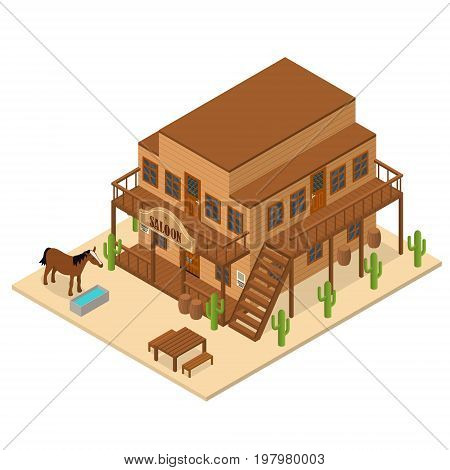 Cartoon Building Saloon on a Wild West Symbol Background Wooden Old House Cowboy Bar Isometric View for Web. Vector illustration
