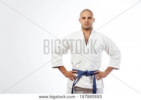 Man In A White Kimono  Posing