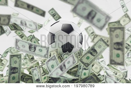 Money and football, soccer business, 3d render illustration