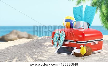 Suitcases on the sand with flip flop, render illustration 3d