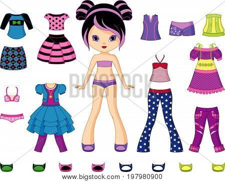 Paper Doll with a summer clothes wardrobe