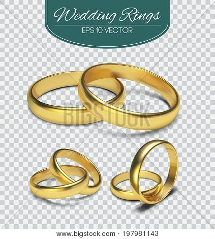 Gold vector wedding rings isolated on trasparent background. Vector illustration. Marriage invitation .