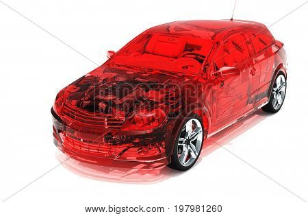 Glass red car on a white background.,3d render