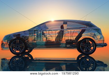 Model cars on a colorful sunset.,3d render