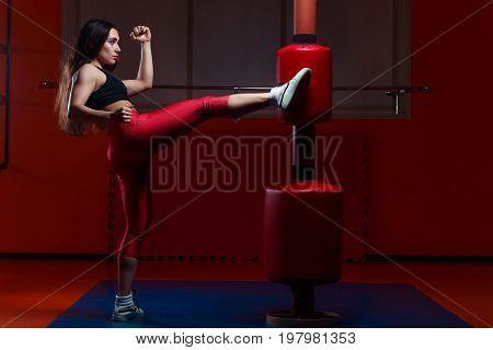 Woman Kickboxing, Hitting A Punching Dummy With A Kick