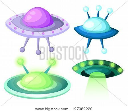 Flying Saucer, Spaceship And UFO Set Illustration of a set of cartoon funny UFO, unidentified spaceship and spacecrafts from alien invaders, with various futuristic shapes Web site page and mobile