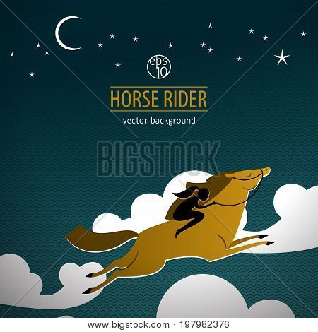 Wild horse colored poster beige horse with rider in the clouds and inscription horse rider vector illustration
