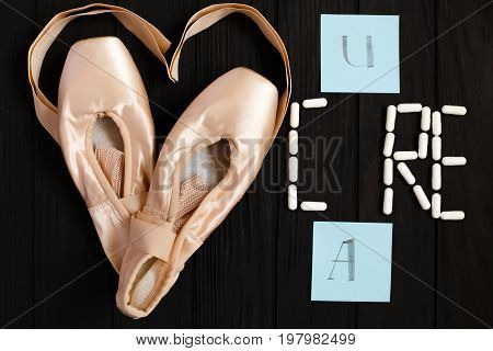 Ballet Shoes, Cards With Letters And Pill Capsules In Shape Of W