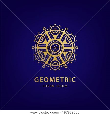 Vector abstract geometric symbol. Linear alchemy, occult, philosophical sign. For poster, flyer, logo design. Astrology, imagination creativity superstition religion concept Golden