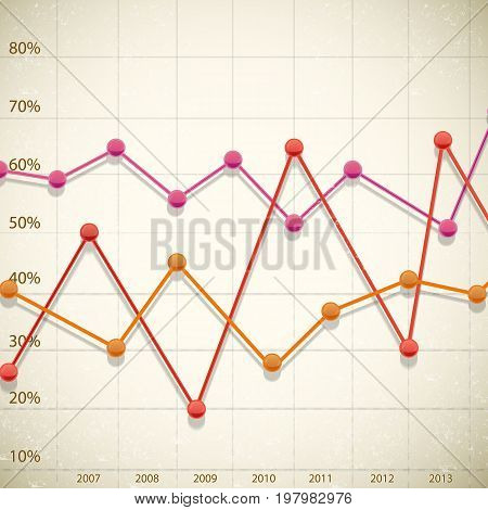Business line diagram design with growth and decrease symbols flat vector illustration
