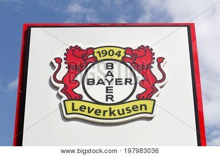 Leverkusen, Germany - July 22, 2017: Bayer Leverkusen logo on a panel. Bayer leverkusen is a German football club based in Leverkusen, North Rhine-Westphalia and the club plays in the Bundesliga
