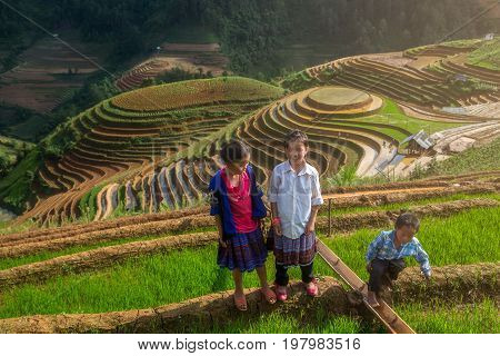 MUCANGCHAI, VIETNAM, MAY 24: Undefined Vietnamese Hmong children are playing in rice terrace on may 24, 2017 at mam xoi of mu cang chai district,Yenbai province, northwest of Vietnam.