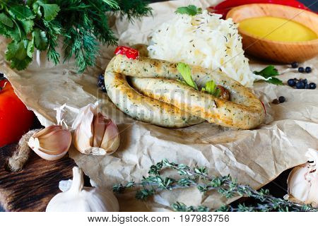 Roasted Sausages Served With Pickled Cabbage,  Garlic, Chili Pep