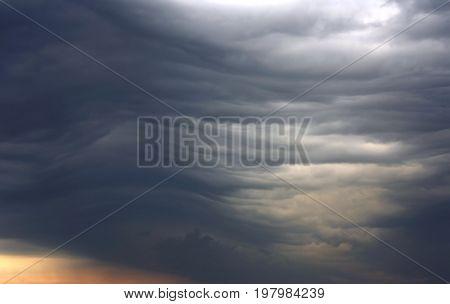 unusual dark gray stratus clouds aerial view skyscape