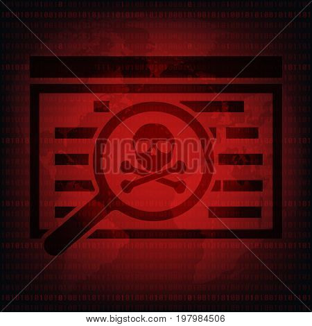Malware Ransomware virus encrypted files magnifying glass with skull with world map background. Vector illustration cybercrime and cyber security concept.